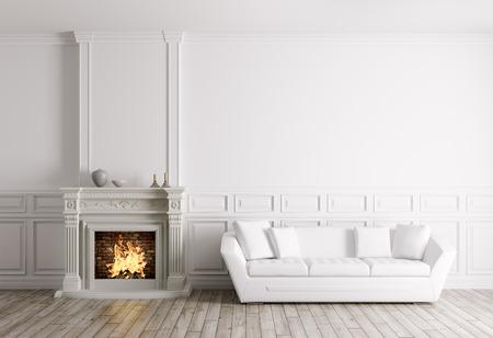 暖炉と白のソファ 3 d レンダリングをリビング ルームのクラシック インテリア