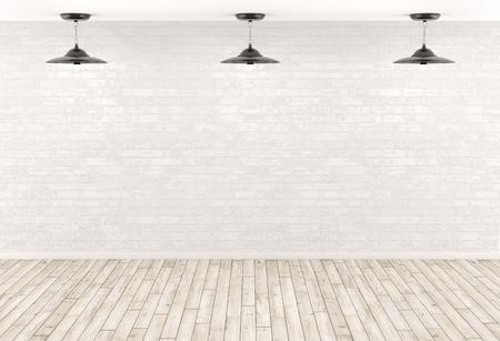 fond Intérieur, chambre avec trois lampes sur le mur de briques blanches, plancher en bois beige 3d render