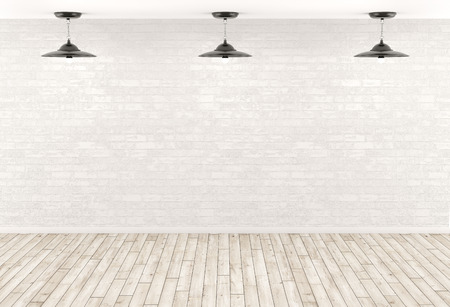 Interior background, room with three lamps over the white brick wall, beige wooden floor 3d render Archivio Fotografico