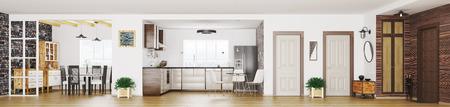 近代的なアパート インテリア、部屋、ホール、キッチン、ダイニング ルーム、パノラマ 3 d レンダリングを生活