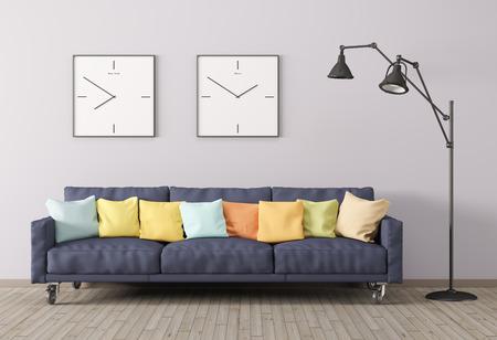 Interior moderno de la sala de estar con sofá, cojines multicolores y lámpara de pie de procesamiento 3D Foto de archivo