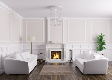 Classic Interior Design Of Living Room With White Sofa And Fireplace ...