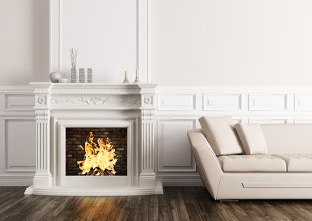 リビング ルームの暖炉とベージュのソファ 3 d のレンダリングのクラシック インテリア