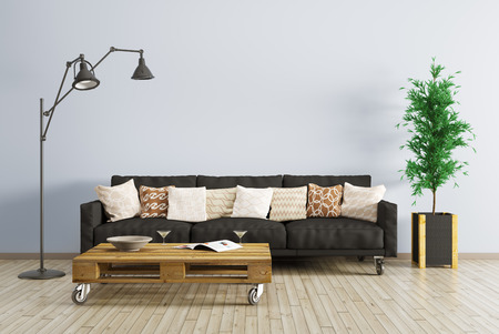 Modern interior of living room with black sofa, floor lamp and coffee table 3d render