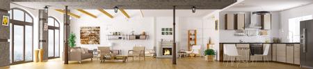 Moderno appartamento inter, soggiorno, cucina, salotto, panorama 3d rendering