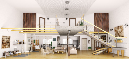 Modern loft apartment interior in cut, living room, hall, kitchen, dining room,staircase, 3d render