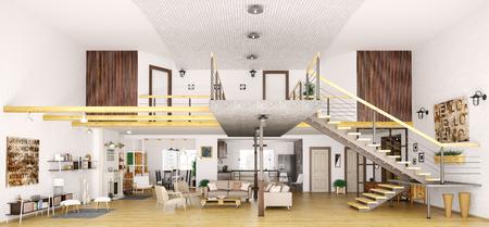Moderne Loft-Wohnung in der Innen Schnitt, Wohnzimmer, Flur, Küche, Esszimmer, Treppe, 3d render