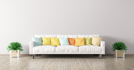 Modern interior of living room with white sofa, multicolored cushions and plants 3d render