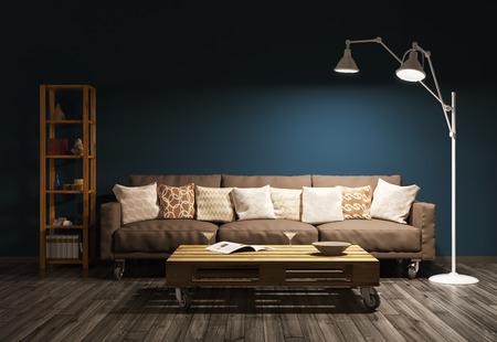 entre la noche moderno de la sala de estar con sofá, lámpara de pie contra la pared marrón de procesamiento 3d