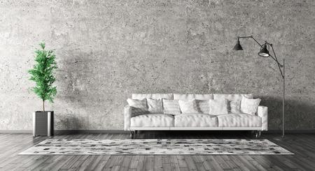 ソファー、コンクリート壁の 3 d レンダリングのに対して床ランプ リビング ルームのモダンなインテリア