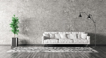 Moderne Inter aus Wohnzimmer mit Sofa, Stehlampe gegen Betonwand 3d render Standard-Bild - 54634593