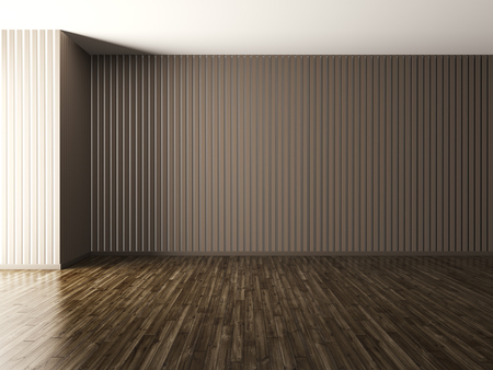 Empty interior of living room, brown paneling wall and hardwood flooring 3d render Stok Fotoğraf