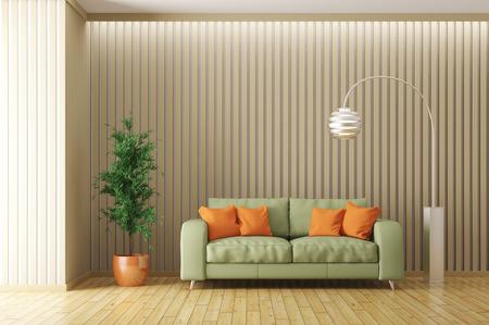 entre moderno de la sala de estar con sofá verde, naranja cojines, lámpara de pie y la planta de procesamiento 3D Foto de archivo