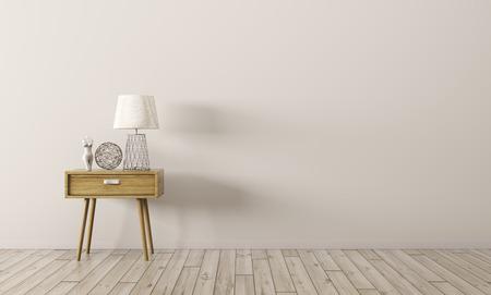木製サイド テーブル 3 d レンダリングをリビング ルームのインテリアの背景 写真素材