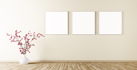 Empty interior of living room with three poster on wall and plant 3d render