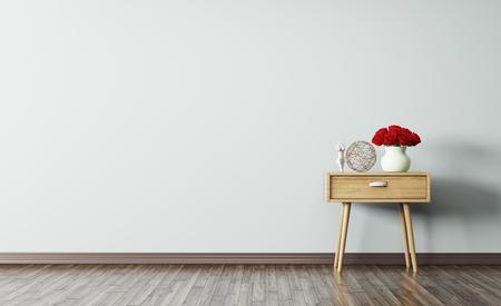 木製サイド テーブル 3 d レンダリングをリビング ルームのインテリア