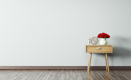 Interior of living room with wooden side table 3d render