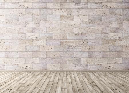 석재 타일 벽과 나무 바닥 룸의 인테리어 배경 3d 렌더링
