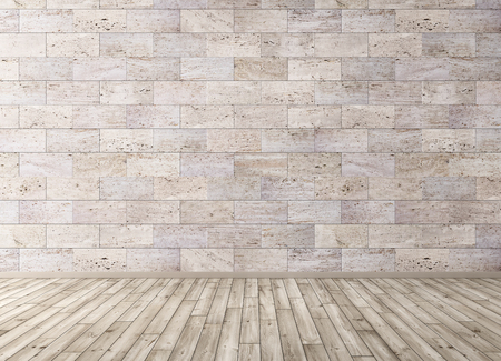 Interior background of room with stone tiles wall and wooden floor 3d render