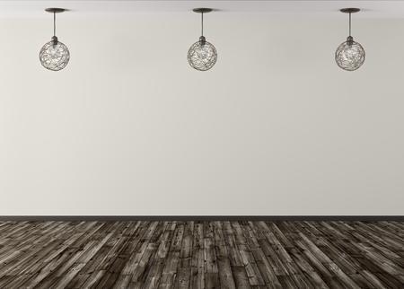 Room with three lamps against of beige wall, wooden floor, interior background 3d rendering Foto de archivo