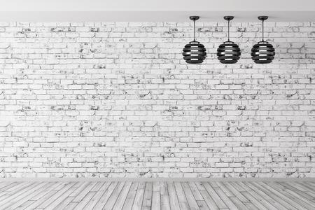 レンガの壁、木の床、インテリアの背景 3 d レンダリングのに対して 3 つのランプの部屋