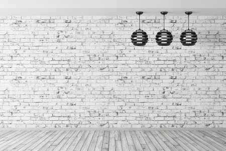 Room with three lamps against of brick wall, wooden floor, interior background 3d rendering