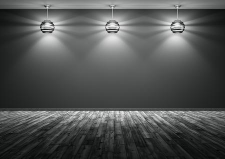 Camera con tre lampade contro di parete nera, pavimento in legno, di notte sfondo interni rendering 3D