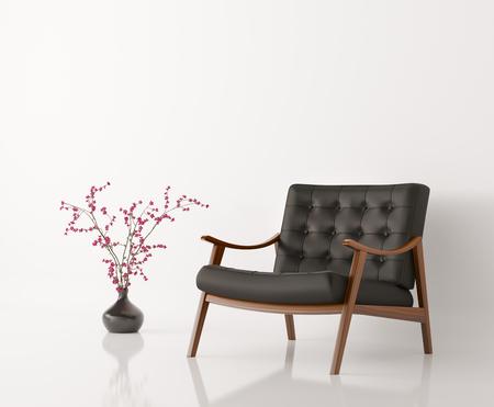 白い壁分離の 3 d レンダリングのに対して黒革のアームチェア、花花瓶