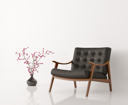 Black leather armchair and flower vase against of white wall isolated 3d rendering