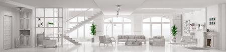 モダンな白いロフト アパート インテリア リビング ルーム、ホール、階段、暖炉パノラマ 3 d レンダリング
