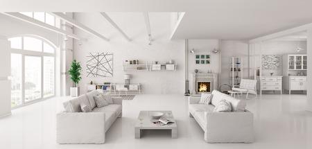 Intérieur de l'appartement blanc avec deux sofas intérieur 3D render