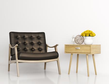 白い壁が分離した 3 d レンダリングのに対して黒革肘掛け椅子とサイド テーブルにします。