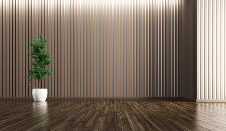 Leeg interieur van woonkamer met planten achtergrond 3D-rendering