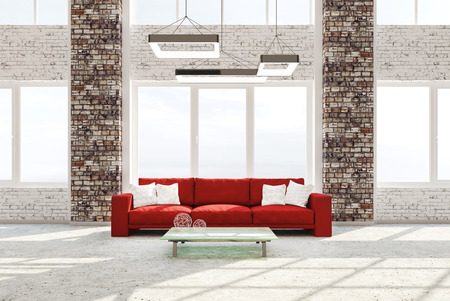 Superieur Modern Interior Of Living Room With Brick Columns Concrete Floor Red Sofa  Against Of Window 3d