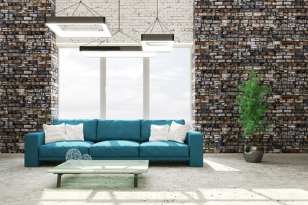 Modern interior of living room with brick wall concrete floor cyan sofa 3d rendering