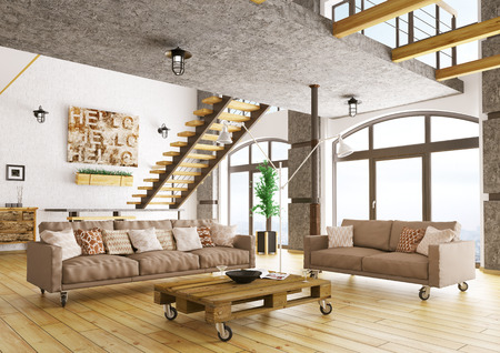 Interior of modern living room with staircase, two sofas, pallet table 3d rendering