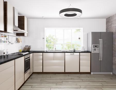 Interno di cucina moderna, frigo, lavastoviglie, forno rendering 3D Archivio Fotografico