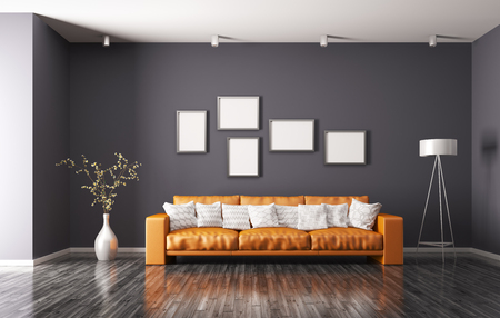 Modern interior of living room with orange sofa, floor lamp 3d rendering