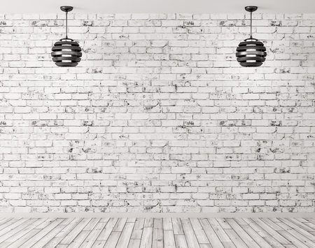 Two black lamps against of brick wall room interior background 3d render photo