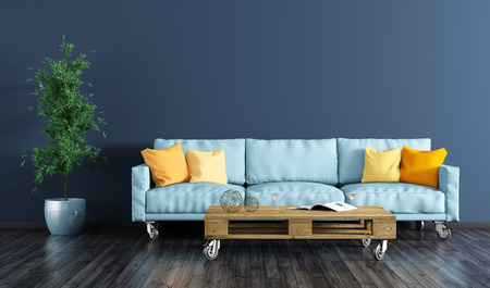 Modern interior of living room with navy blue wall, sofa, pallet table and plant 3d rendering