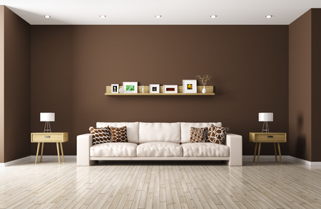 Modern interior of living room with beige sofa, shelf, side tables 3d rendering