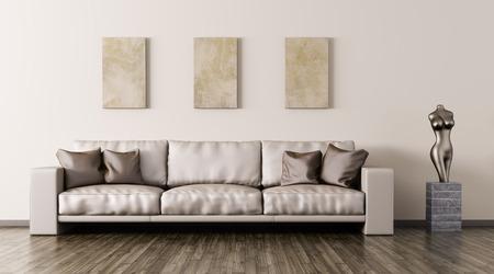 Moderne Inter aus Wohnzimmer mit beige Ledersofa und Statue 3D-Rendering