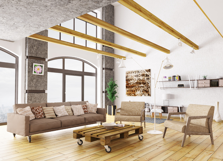 Interior of modern living room with sofa, armchairs and pallet table 3d rendering