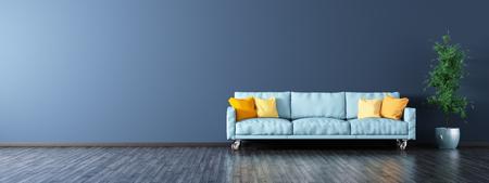 青いソファ パノラマ 3 d レンダリングでモダンなリビング ルームのインテリア
