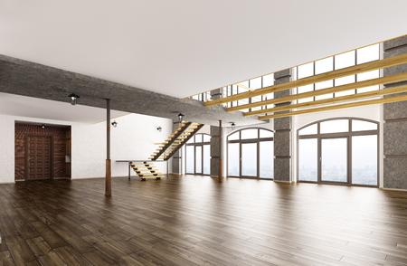 Lege inter van loft appartement woonkamer hal trap 3D-rendering