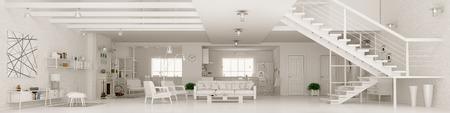 ホワイトのモダンなお部屋のインテリア、部屋、ホール、キッチン、ダイニング ルーム、階段、パノラマ 3 d レンダリングを生活