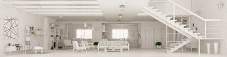 Moderno appartamento bianco inter, camera, sala, cucina, sala da pranzo, scala, panorama 3D rendering vivente Archivio Fotografico