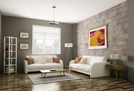 현대 거실 내부 3 차원 렌더링 스톡 콘텐츠