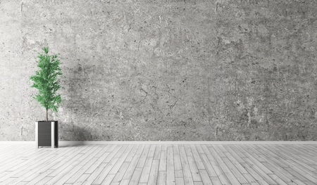 間のコンクリート壁、木造の部屋の背景床と工場の 3 d レンダリング 写真素材