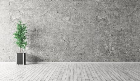 Interni sfondo della stanza con muro di cemento, pavimento in legno e la pianta di rendering 3d Archivio Fotografico - 57605484